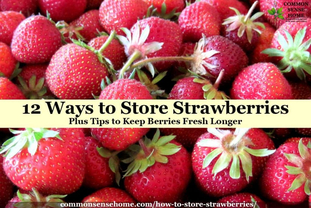 "fresh strawberries with text overlay ""12 ways to store strawberries"""