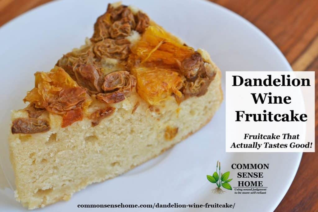 Slice of dandelion wine fruitcake