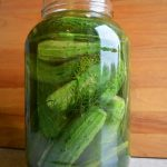 No canning required dill pickles in gallon jar.
