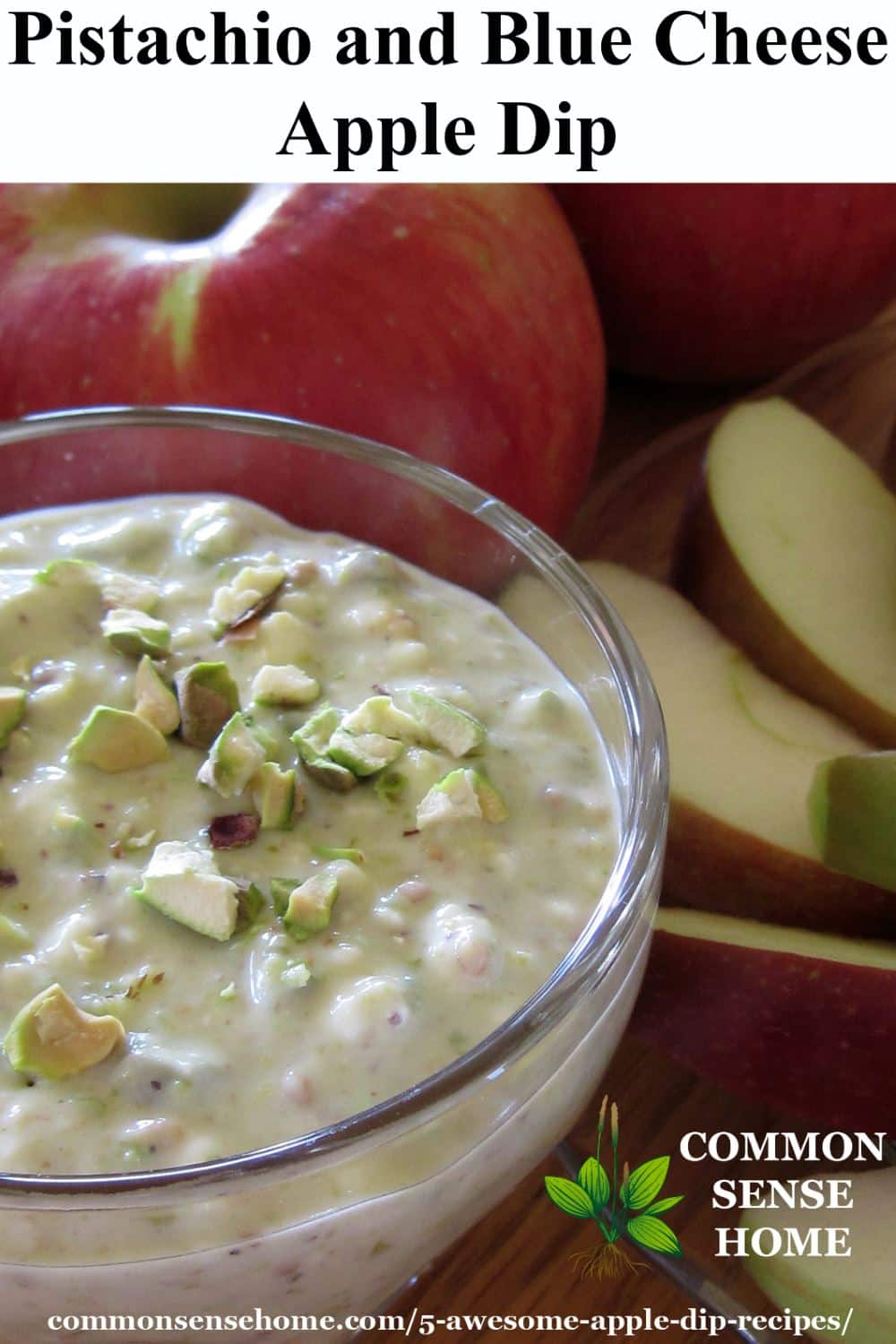 Pistachio and blue cheese apple dip