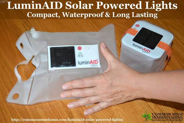 LuminAID solar powered lights are lightweight, durable, waterproof, inflatable lights. They hold a charge for 2 years, making them perfect for emergencies.