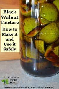 black walnut tincture in a mason jar