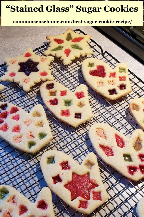 Christmas sugar cookies decorated to look like stained glass