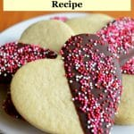 best sugar cookies cut in heart shape and covered in chocolate and sprinkles