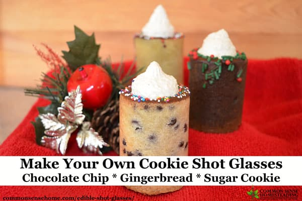 Fill these edible shot glasses with anything you like for a memorable party treat. Use a shot glass mold to create cookies, jello, hard candy or ice cups. Pictured here - chocolate chip, gingerbread and sugar cookie.