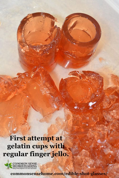 Edible shot glasses with regular finger jello - fail.