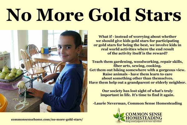 What if instead of worrying about when we should give kids gold stars, we involve kids in real activities that are their own reward?
