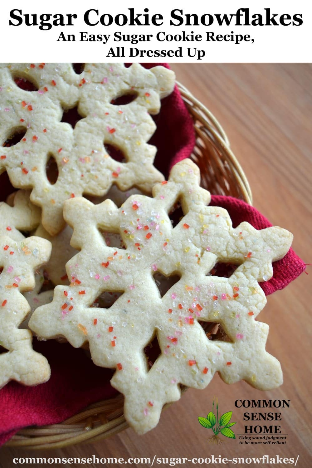 sugar cookie snowflakes in basket