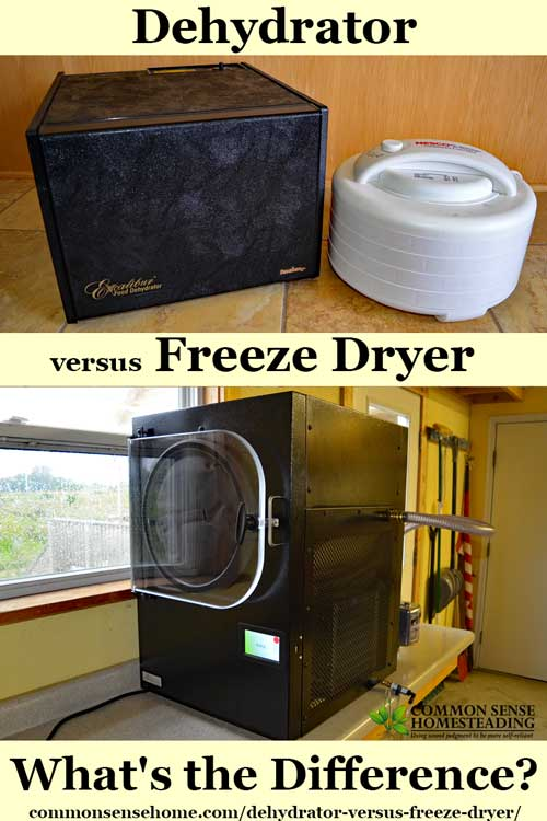 Dehydrator Versus Freeze Dryer - They perform similar functions - food is dried for storage - how they do it and the resulting product is quite different.