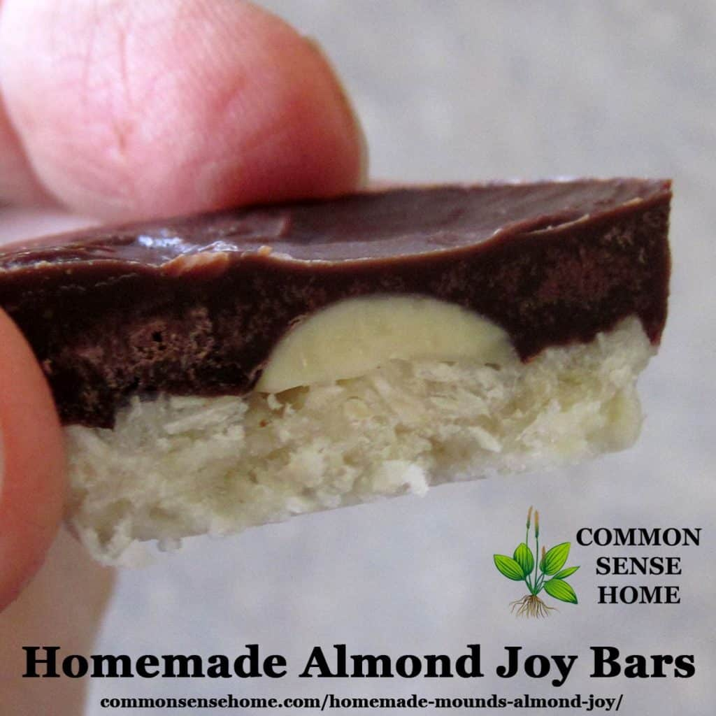 Homemade almond joy bar close-up