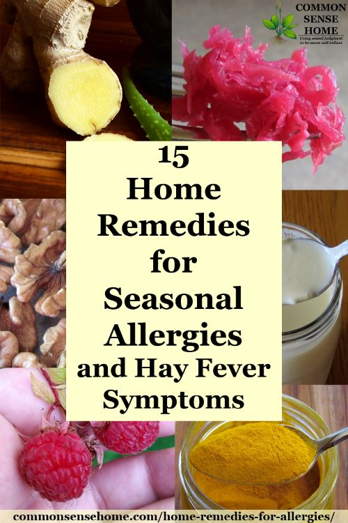 Collage of home remedies for seasonal allergies