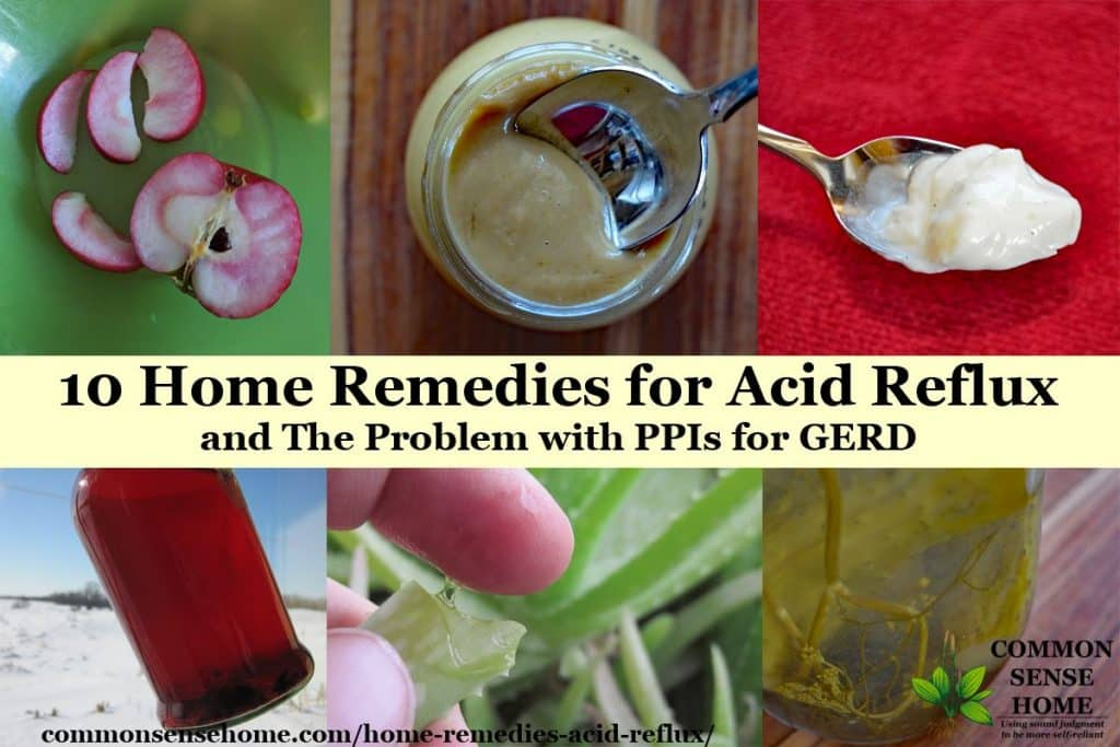 Collage of home remedies for acid reflux.