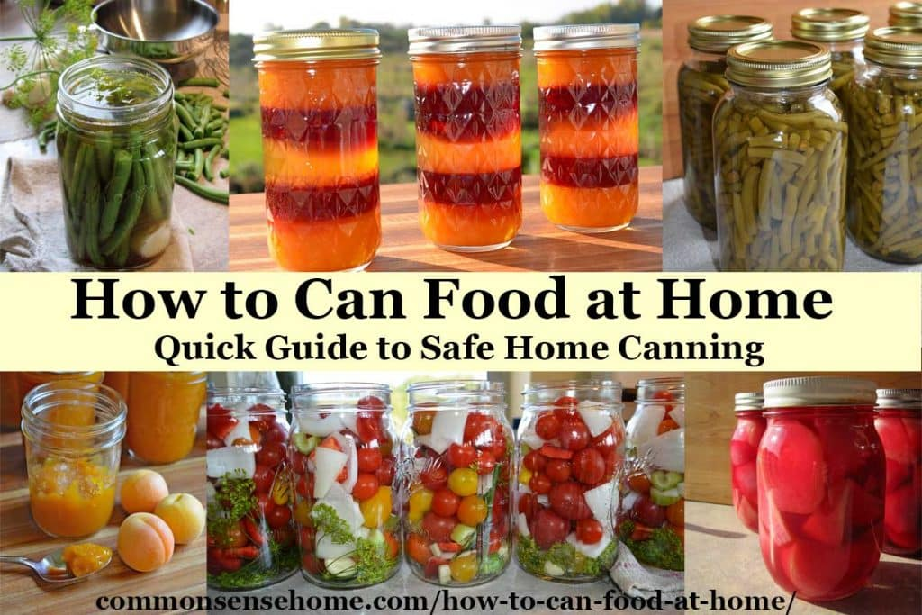 How to Can Food at Home text with an assortment of home canned food in jars in the background