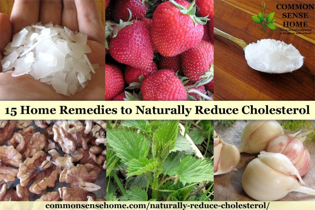 Collage of home remedies to reduce cholesterol