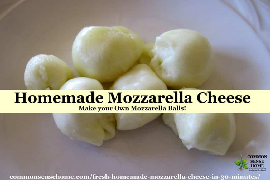Homemade mozzarella balls sitting on a white plate