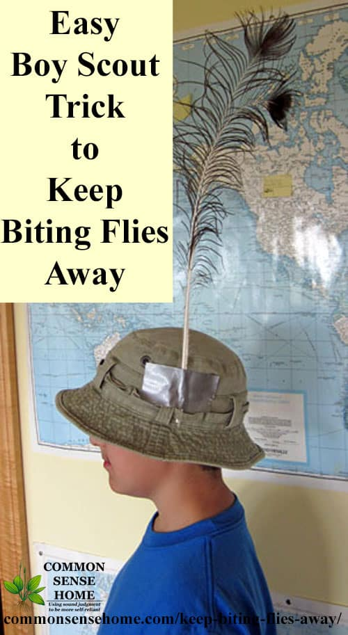 boy wearing feather on hat as a deer fly deterrent to keep biting flies away, side view
