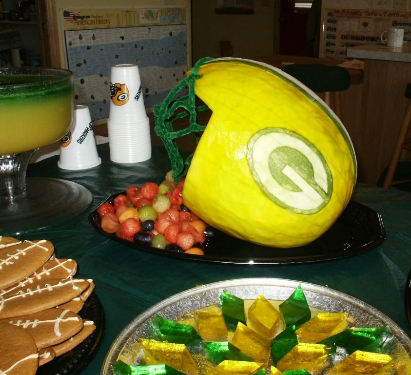 watermelon carved like Green Bay Packer football helmet