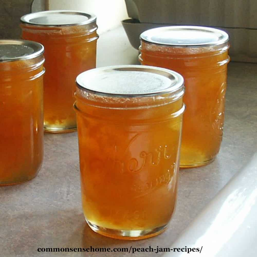 low sugar peach jam in mason jars