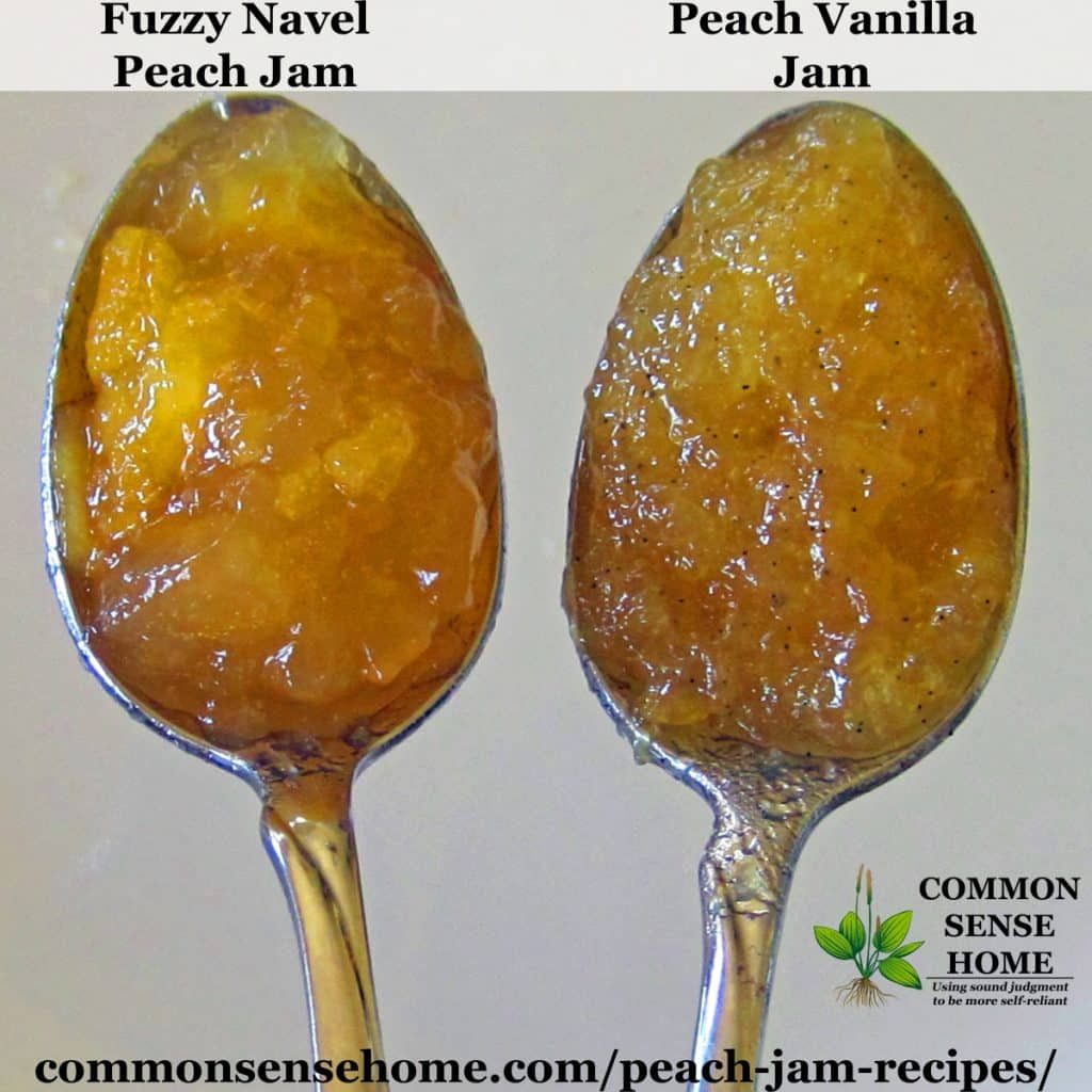 Fuzzy Navel peach jam and peach vanilla jam on spoons