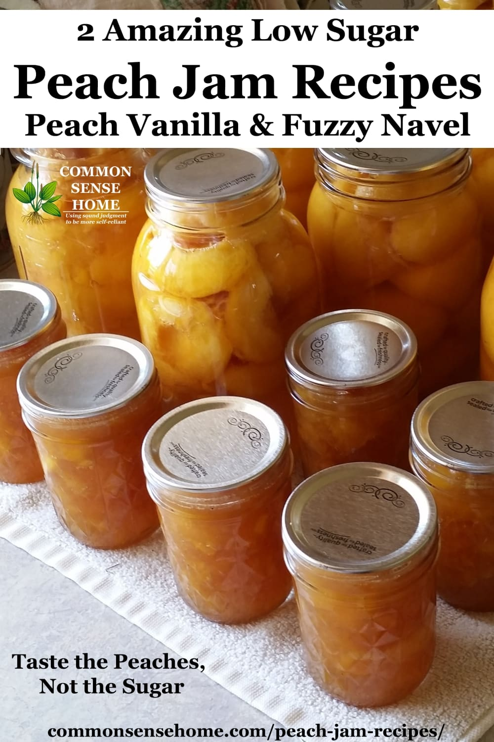 Finished peach jam alongside canned peaches.