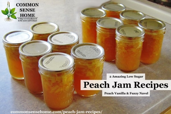 A dozen jars of finished peach jam
