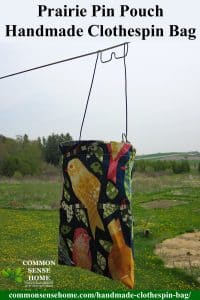 Prairie Pin Pouch Handmade Clothespin Bag hanging on the laundry line