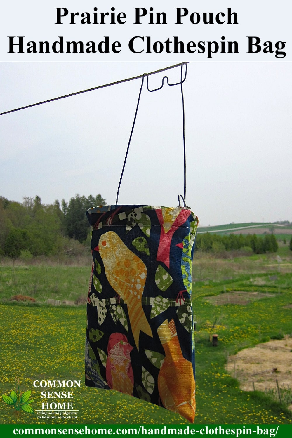 Prairie Pin Pouch on clothesline