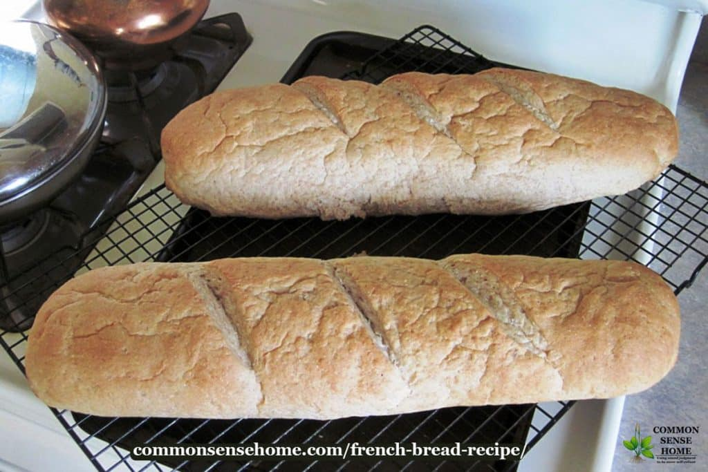 two loaves of homemade French bread