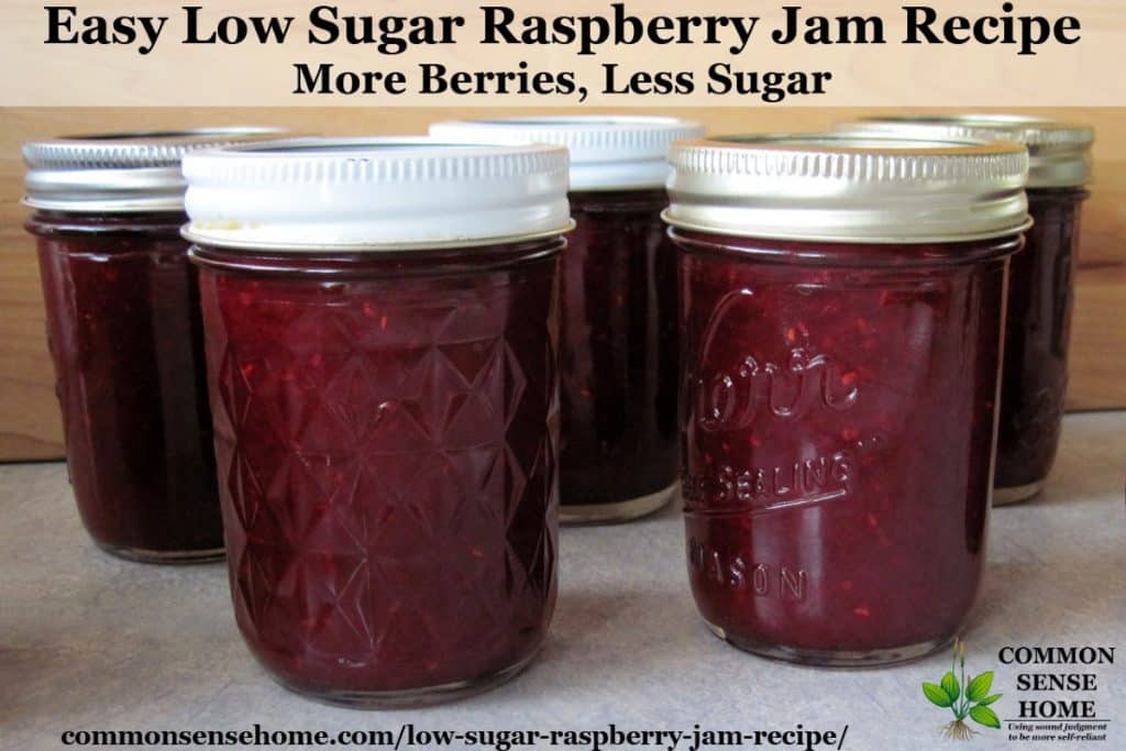 low sugar raspberry jam jars