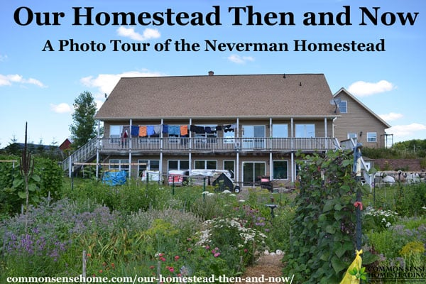 Our Homestead Then and Now is a photo tour of the Neverman Homestead in northeast Wisconsin featuring comparisons of progress over 13 years.