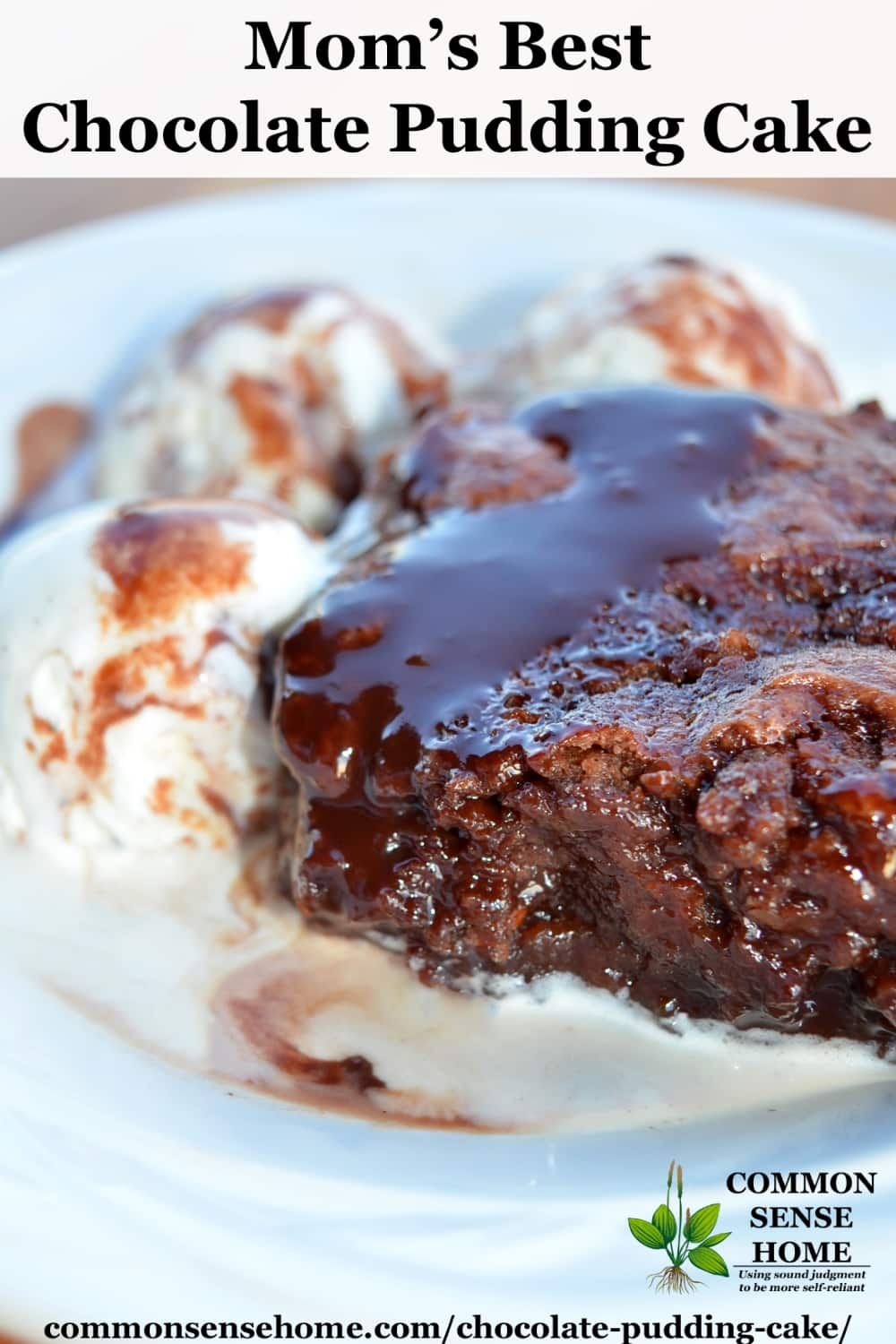 Old fashioned chocolate pudding cake on white plate with vanilla ice cream