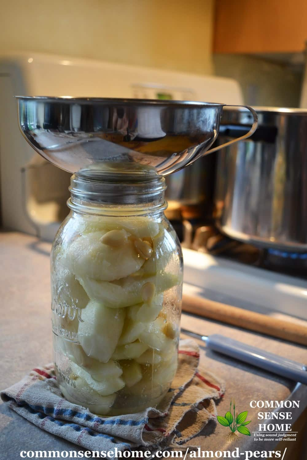 canned pears in jar