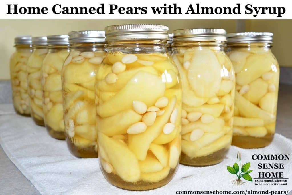 home canned pears with almonds