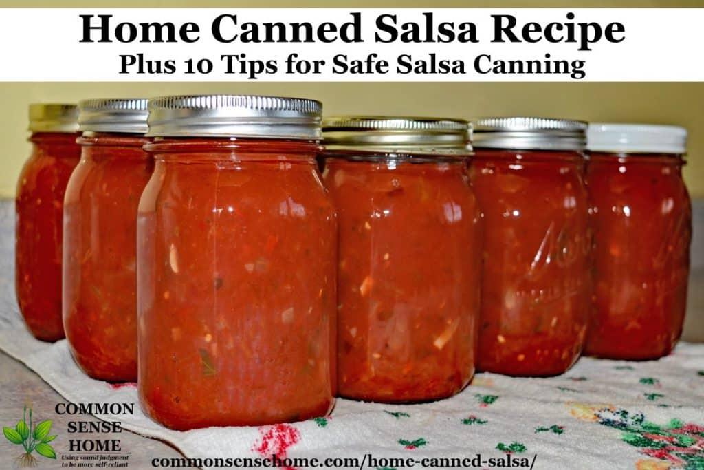 pint mason jars filled with salsa