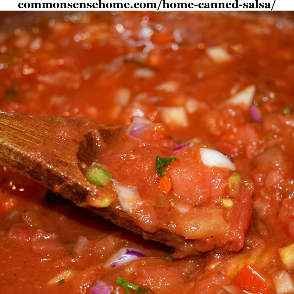 close up of salsa for canning