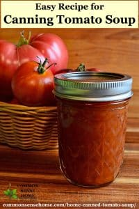 home canned tomato soup in mason jar with tomatoes in basket