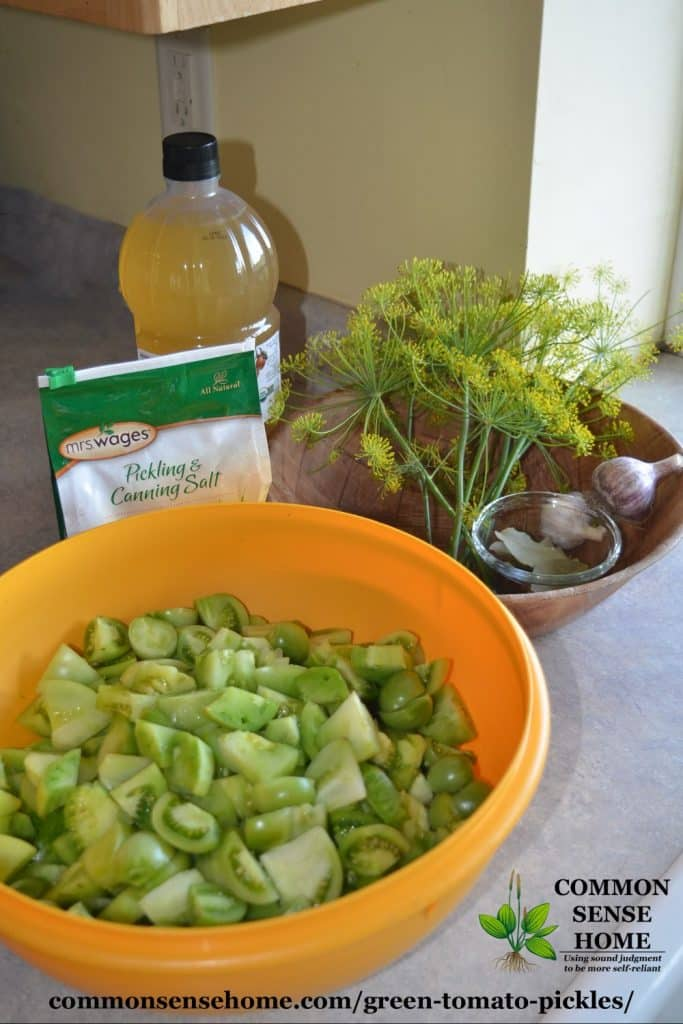 green tomato pickle ingredients
