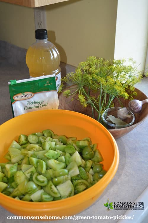 Green tomato pickles are a great way to use up unripe tomatoes, or simply mix up your tomato harvest with the crisp texture of green tomatoes.
