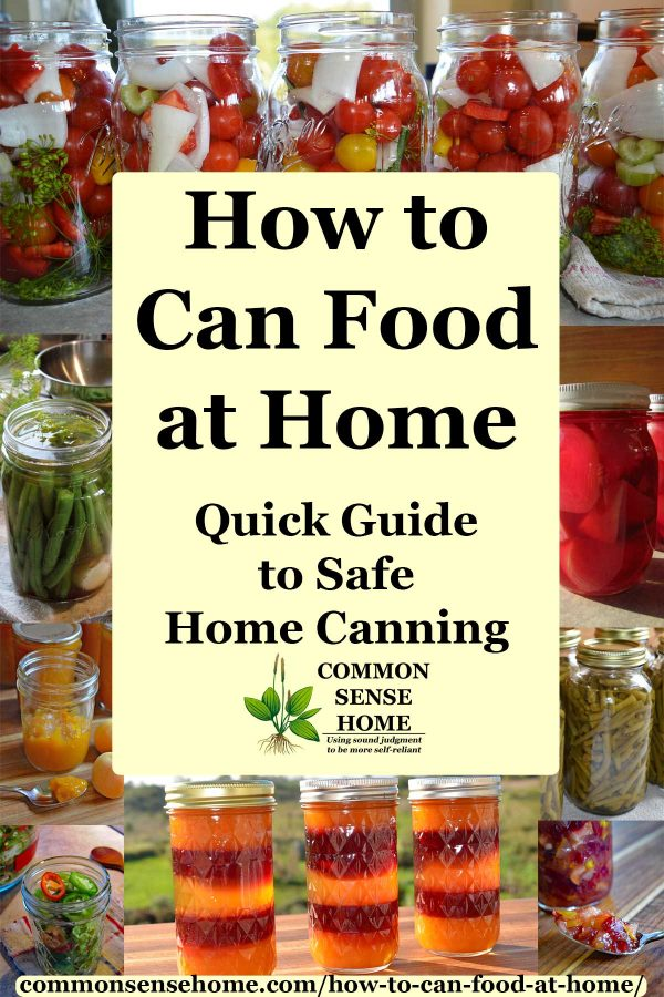 "Text - ""How to Can Food at Home"" with images of home canned foods"