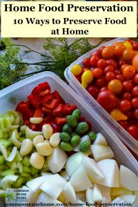 bins of fresh vegetables prepped for home preserving