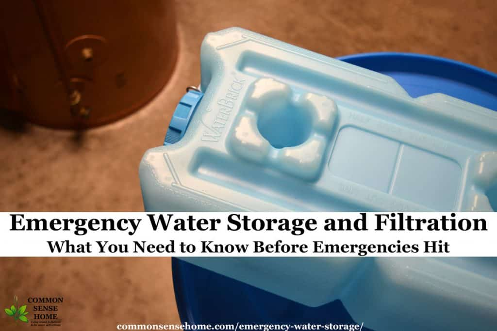 emergency water storage - water brick stacked on water barrel