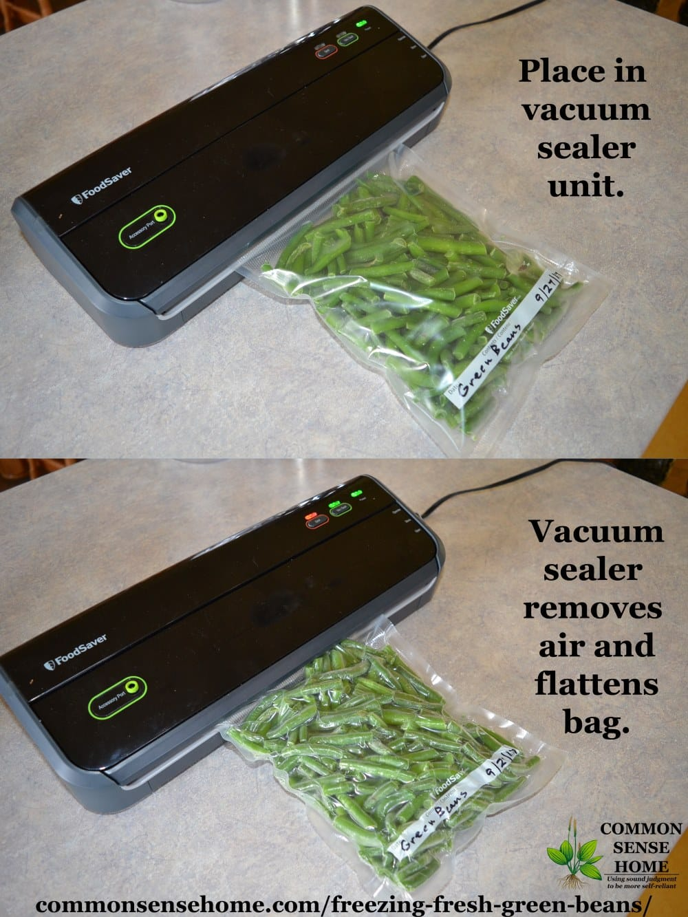 vacuum sealing a package of frozen green beans