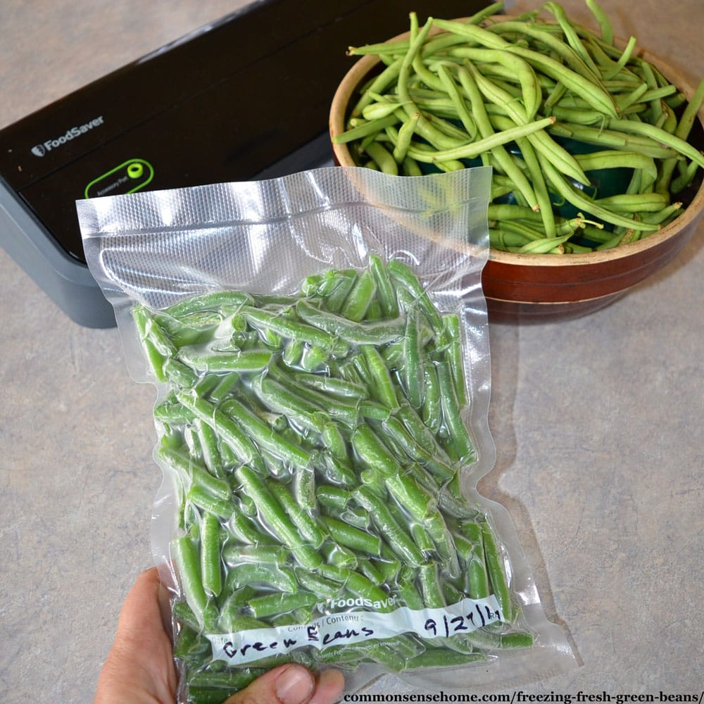freezing green beans - vacuum sealed package of green beans with fresh green beans and vacuum sealer in background