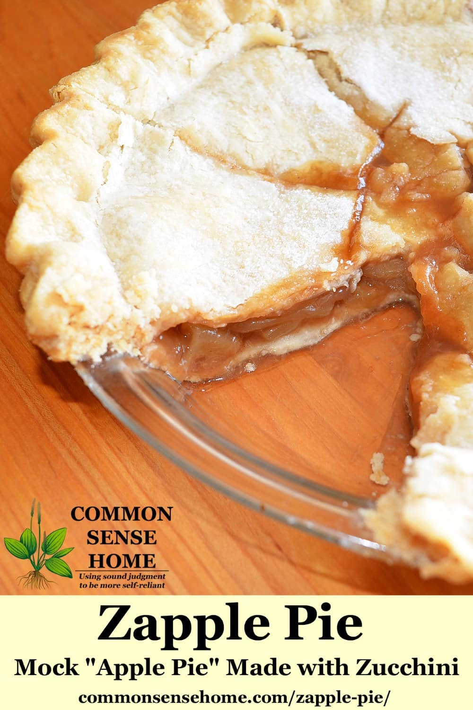 zapple pie in glass pie plate