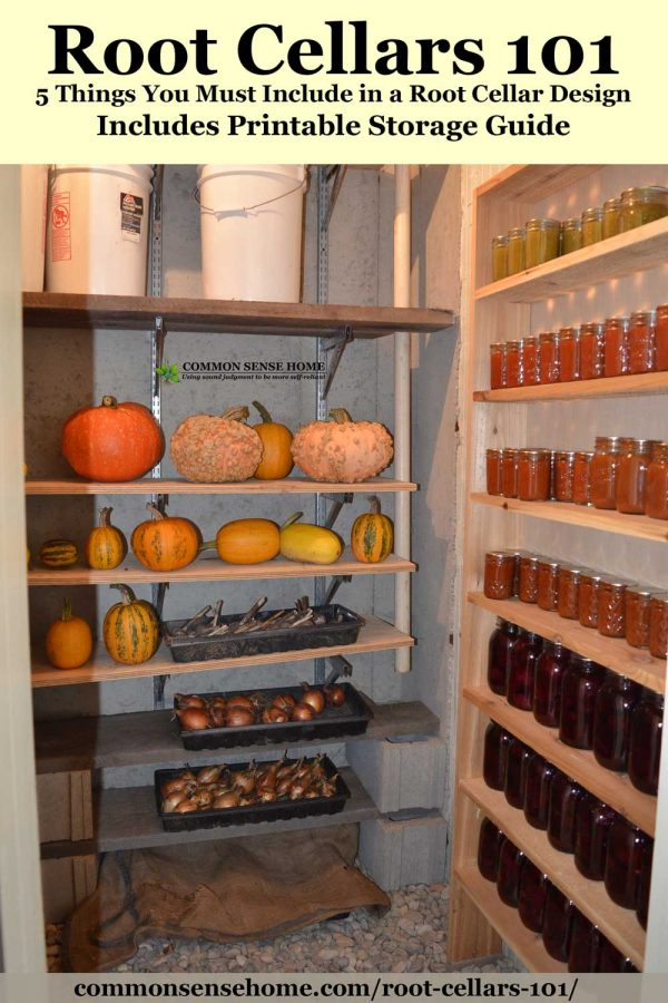 root cellar with squash and root vegetables on shelves, canning jars on right