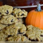 pumpkin oatmeal cookies with small pumpkin