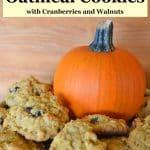 pumpkin oatmeal cookies with small pumpkin