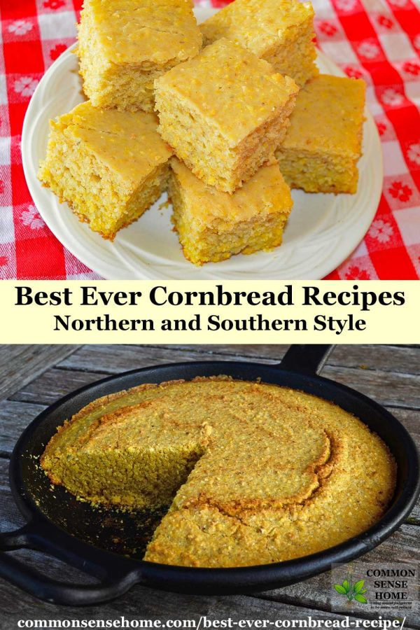 best ever cornbread recipes - northern style above text, southern style in skillet below text