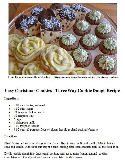 Easy christmas cookies one dough three different cookies easy christmas cookies recipes printable forumfinder Images