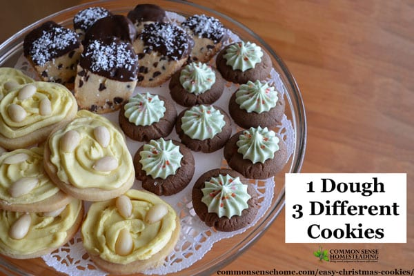 Easy Christmas Cookies - This 3 Way Cookie dough makes lemon-almond cookies, chocolate-mint thumbprint cookies and chocolate freckle cookies.